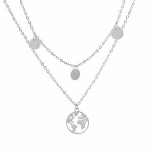 World Map Necklace Silver Layered Dual Long Boutique